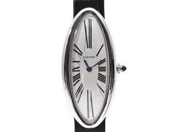 カルティエ ベニュワールアロンジェ シルバー文字盤 レディース WG/革 手巻き 時計 Aランク 美品 CARTIER 中古 銀蔵