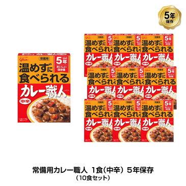 5年保存 非常食 江崎グリコ 常備用カレー職人 カレー 中辛 1袋/170g 10袋セット