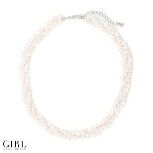 【レビューを書いてメール便無料!】シンプルパールのネックレス!ツイストデザインが他のパールアクセとはちょっと違う!クールで華やかな印象☆
