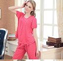 【スーパーアウトレット】新作♪マタニティ初期〜中期&産後着るパジャマ 綿 デザイン可愛い ピンク水玉 Mサイズ