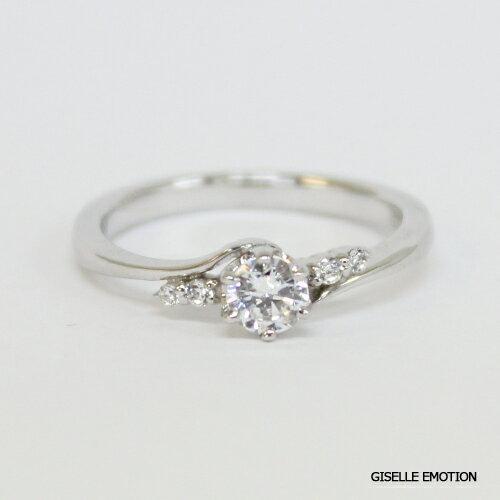 婚約指輪 0.34ct【10大特典あり】『エンゲージリング ダイヤモンドリング K18WG』|プラチナリング|サイズ直し無料|結婚記念日|彼女|誕生日プレゼント|女性|刻印無料:GISELLE EMOTION
