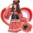 ミニーマウスのコスプレ風ミニ浴衣ドレス