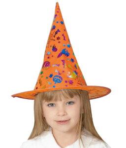 ハロウィン 衣装 子供 コスプレ 魔女 女の子 オレンジ レインボー ハット 魔女ハット 魔女帽子 仮装 コスチューム ハロウィンパーティー ハロウイン イベント ハロウィーン あす楽