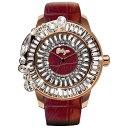 Galtiscopio(ガルティスコピオ) SHINY SIMPLE SS1 バーガンディ/ローズゴールド ゴージャスなスワロフスキーのキラキラ時計 メンズ レディース 腕時計 ワインレッド