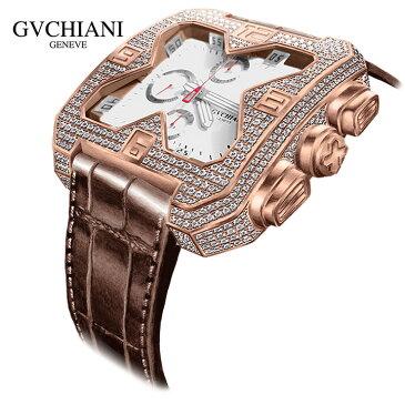 GVCHIANI(ブチアーニ)BIG SQUARE ROSE GOLD DIAMOND ビッグスクエア 18Kローズゴールド ダイヤモンド 11.5カラット スイス高級腕時計 メンズ機械式腕時計