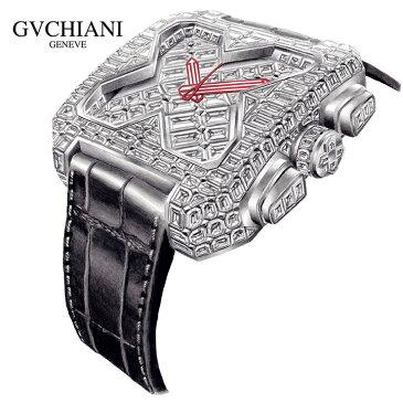 GVCHIANI(ブチアーニ)BIG SQUARE WHITE GOLD FULL DIAMOND TOURBILLON ビッグスクエア 18Kホワイトゴールド フルダイヤモンド 25カラット トゥールビヨン スイス高級腕時計