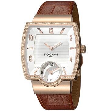 [ポイント10倍]フランスのラグジュアリーブランド ROCHAS(ロシャス)メンズ時計 RJ50 ホワイト/ローズゴールド/ブラウン ダイヤモンド スクエアフェイス
