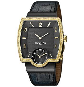 [ポイント10倍]フランスのラグジュアリーブランド ROCHAS(ロシャス)メンズ時計 RJ51 ブラック/ゴールド/ブラック ダイヤモンド