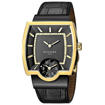 [ポイント10倍]フランスのラグジュアリーブランド ROCHAS(ロシャス)メンズ時計 RJ52 ブラック/ゴールド/ブラック スクエアフェイス