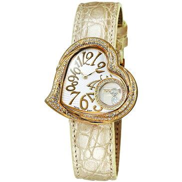 [ポイント10倍] ダイヤモンドが散りばめられたハート型のレディース時計 フランスのラグジュアリーブランド ROCHAS(ロシャス)RJ60 ホワイト/ゴールド/ベージュ