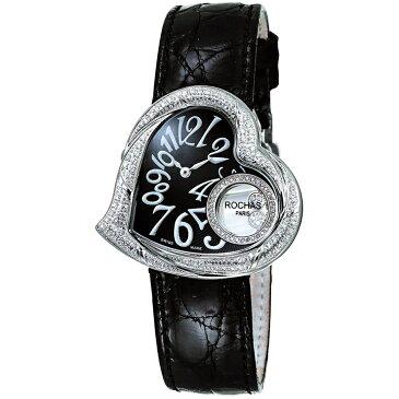 [ポイント10倍] ダイヤモンドが散りばめられたハート型のレディース時計 フランスのラグジュアリーブランド ROCHAS(ロシャス)RJ61 ブラック/シルバー/ブラック