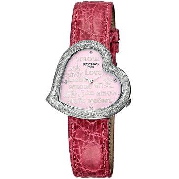 [ポイント10倍] ダイヤモンドが散りばめられたハート型のレディース時計 フランスのラグジュアリーブランド ROCHAS(ロシャス)RJ66 ピンク/シルバー/ピンク