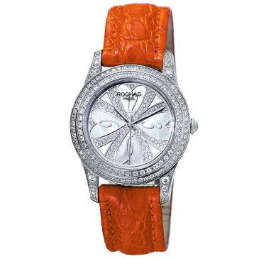 [ポイント10倍]クローバー型のレディース時計 フランスのラグジュアリーブランド ROCHAS(ロシャス)RJ70 シルバー/オレンジ