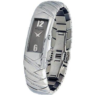 [ポイント10倍]フランスのラグジュアリーブランド ROCHAS(ロシャス)レディース時計 RJ74 ブラウン/シルバー メタルブレスレット バングル