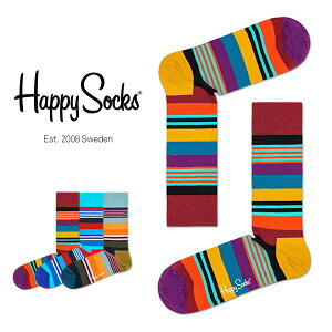 【セール!40%OFF】Happy Socks ハッピーソックスMULTI STRIPE ( マルチストライプ )クルー丈 綿混 ソックス 靴下ユニセックス レディース 【プレゼント 贈答 ギフト】11113022