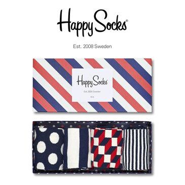 【送料無料】 Happy Socks ハッピーソックスSTRIPE ( ストライプ )4足組 ギフト セット 綿混 クルー丈 ソックス 靴下 GIFT BOX メンズ 男性 紳士 【プレゼント 贈答 ギフト】10147015