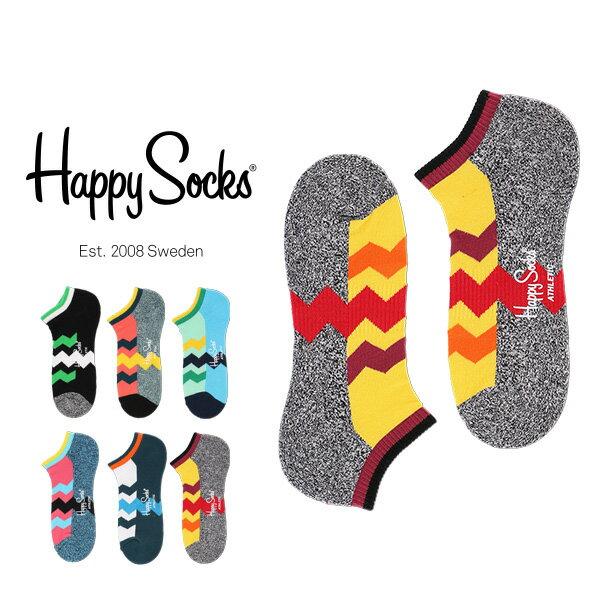 【ポイント20倍】Happy Socks ハッピーソックスZIG STRIPE ( ジグ ストライプ )Athletic スニーカー丈  パフォーマンス ソックス 靴下 底パイル アーチサポートユニセックス メンズ & レディス h605325母の日 無料ラッピング
