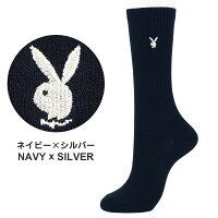 PLAYBOY(プレイボーイ)スクールソックスワンポイント刺繍28cm丈レディスハイソックス靴下3737-352ポイント10倍