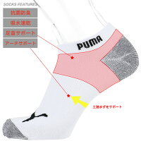 PUMA(プーマ)メンズ靴下抗菌防臭・アーチサポート・高機能靴下・3足組スニーカー丈ソックス2822-640ポイント10倍