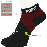 PUMA(プーマ)メンズ靴下抗菌防臭・アーチサポート・高機能靴下・3足組スニーカー丈五本指ソックス2822-644ポイント10倍