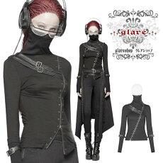 ・:glareshopグレアショップ:・「S/L/2XL」TX679■スチームパンクダブルジッパーカットソー黒レディース【返品不可】ゴスロリゴシックパンクロックファッションスチームパンクヴィジュアル系V系モード系コスプレステージ衣装服