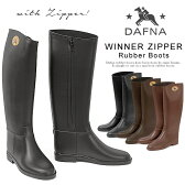 ダフナ レインブーツ ジッパー レインシューズ レディース dafna ジッパー ラバーブーツ ロング 黒/ブラック/茶/ブラウン Winner Zipper Rubber Boots 細身シルエットで美脚に ロングブーツ 長靴 2016