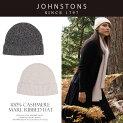 【送料無料】Johnstonsジョンストンズカシミアニット帽HAE1998MARLRIBBEDHAT高級感漂う滑らか&ソフトな肌触り大人の上品帽子カシミア100%予約商品
