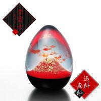 ガラス置物赤富士オブジェ大