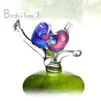 手作りガラス細工の置物鳥のオブジェ(2羽)