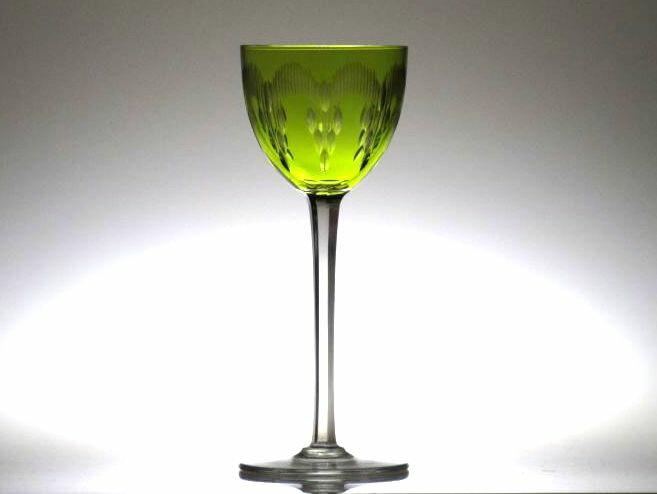 オールドバカラ グラス ● モリエール 被せガラス イエローグリーン 黄緑 ホックワイン ラインワイン グラス レーマー Moliere