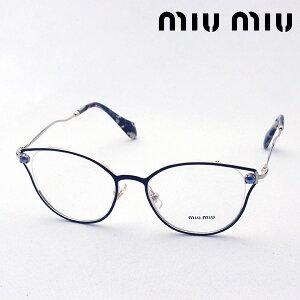 NewModel 明日の夜終了 ポイント10倍+2倍 8月9日(日)午前1時59分まで 【ミュウミュウ メガネ 正規販売店】 miumiu MU53QV 1AB1O1 伊達メガネ 度付き ブルーライト カット 眼鏡 miumiu Made In Italy フォックス