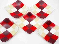 紅彩五角銘々皿