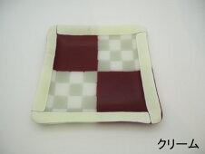 <squareplate・スクエアプレート・紅白彩市松文様正方皿>レッドクリーム白グレー不透明透明つや消し銘々皿器ケーキ皿工芸アート