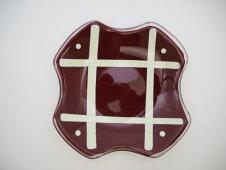 <latticepatternplate・ラティスパターンプレート・紅彩格子文様皿>レッド不透明ガラス器銘々皿取り皿食器アート工芸