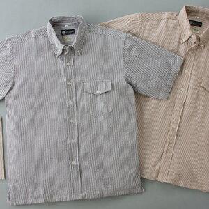 サラっとした肌触りの涼感シャツ2枚組、プラスハンカチセットシアサッカーシャツ2枚セット(ハン...