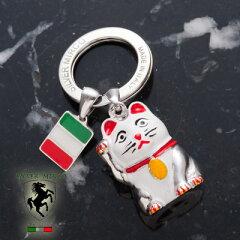 シルバーで作られたイタリア生まれのラッキーキャット【送料無料】イタリア製シルバーキーリン...