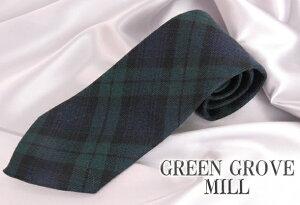 英国の有名ブランド「GREEN GROVE MILL」英国製 チェックネクタイ Black Watch(ブラックウォ...