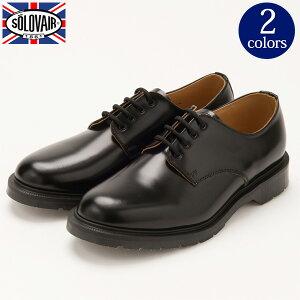 靴 メンズ イギリス製 レザーシューズ 4EYELET プレーントゥ[SOLOVAIR / ソロヴェアー]エアクッションソール くつ シューズ 革 革靴 ビジネス ドクターマーチン[送料無料]