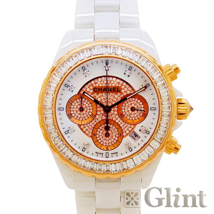 シャネル(CHANEL) J12 ジェイトゥエルヴ 41mm クロノグラフ ジュエリー バゲットダイヤモンド H2138〔腕時計〕〔純正バゲットダイヤモンド〕【中古】