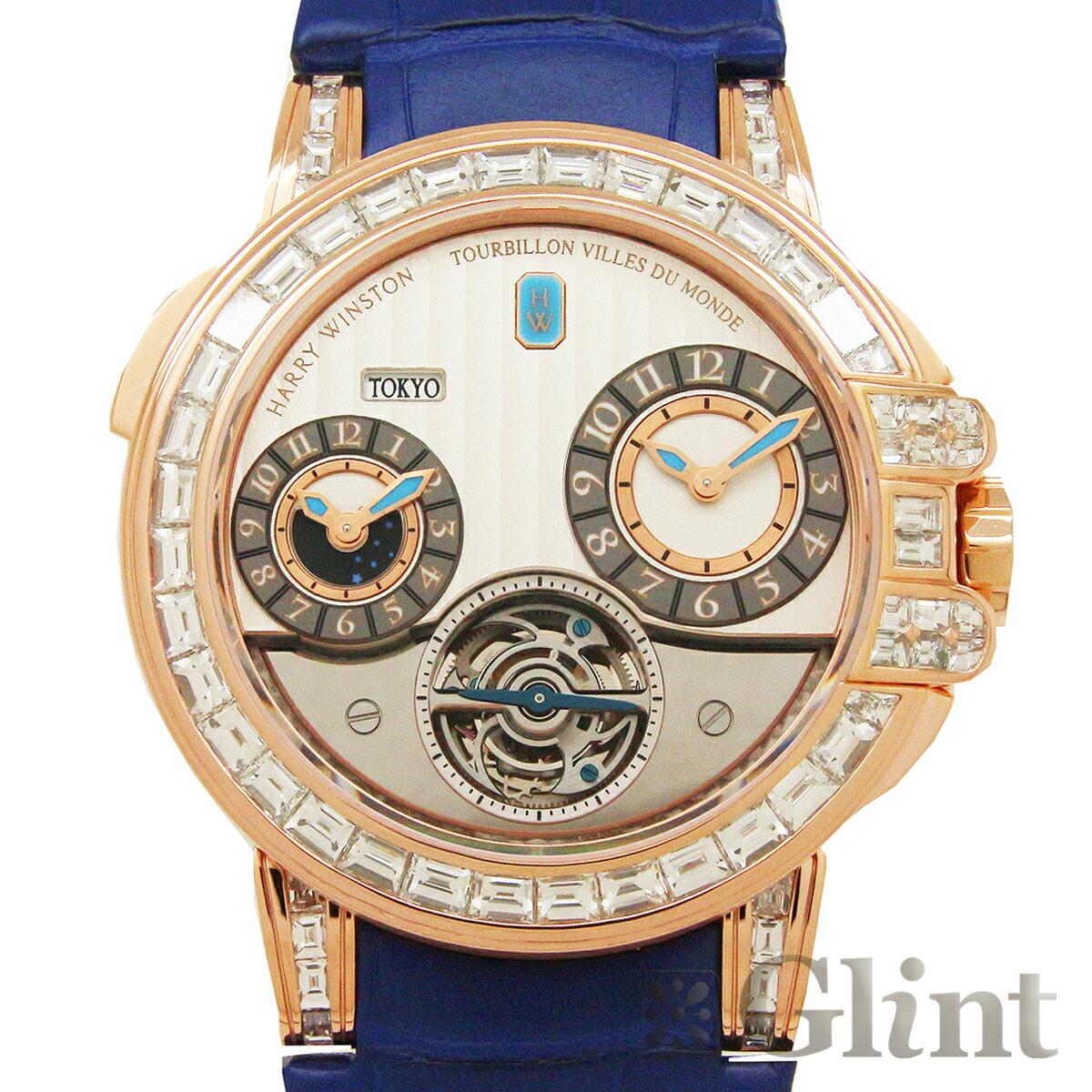 ハリーウィンストン【HARRYWINSTON】オーシャン GMT ワールドタイム トゥールビヨン バゲットダイヤモンド 世界限定10本仕様 400/MATTZ45R〔腕時計〕〔メンズ〕【中古】