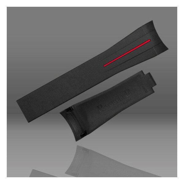 ラバーB【RUBBERB】ROLEX オイスターパーペチュアル 39mm専用ラバーベルト 色:ブラック×レッド【ROLEX純正バックルを使用】※時計、バックルは付属しません