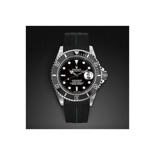 ラバーB【RUBBERB】ROLEXサブマリーナ専用ラバーベルト 色:ブラック×グリーン【ROLEX純正バックルを使用】※時計、バックルは付属しません