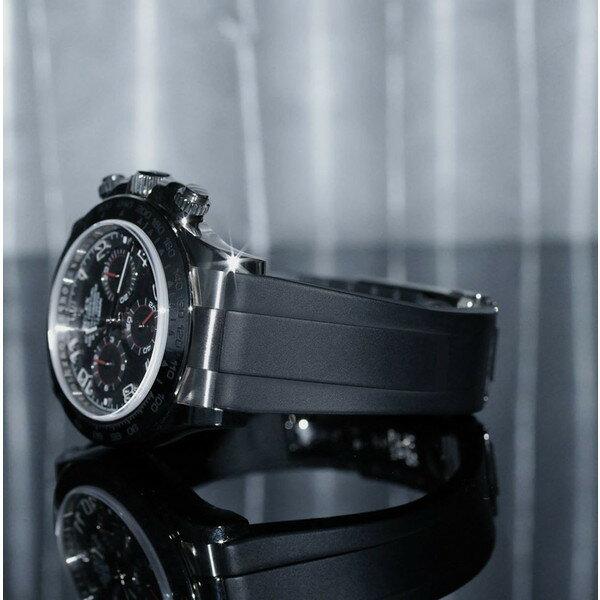 ラバーB【RUBBERB】ロレックス(ROLEX)デイトナ(DAYTONA)オイスターブレスレットモデル専用ラバーベルト【ブラック】【ROLEX純正バックルを使用】※時計、バックルは付属しません