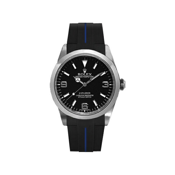 ラバーB【RUBBERB】ROLEXエクスプローラーI専用ラバーベルト 色:ブラック×ブルー【尾錠付き】(2010年以降モデル対応)※時計は付属しません