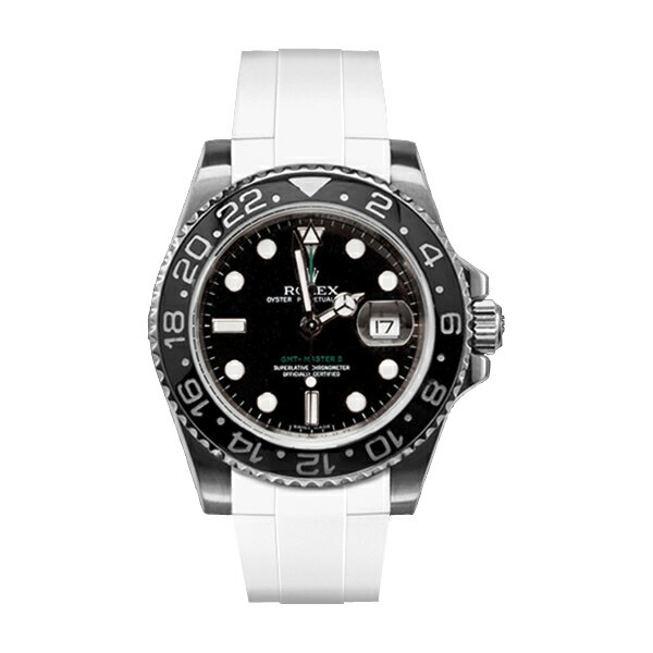 ラバーB【RUBBERB】ROLEX GMTマスターIIセラミック専用ラバーベルト 色:ホワイト【尾錠付き】※時計は付属しません