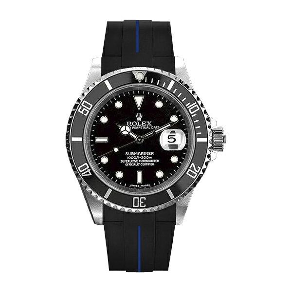 ラバーB【RUBBERB】ROLEXサブマリーナ/サブマリーナセラミック専用ラバーベルト 色:ブラック×ブルー【尾錠付き】※時計は付属しません