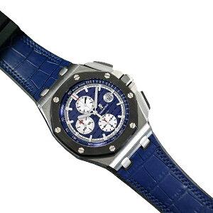 ラバーB【RUBBERB】オーデマピゲ ロイヤルオークオフショア 44mmモデル専用ラバーベルト アリゲーター調【ブルー】 ※時計、バックルは付属しません。