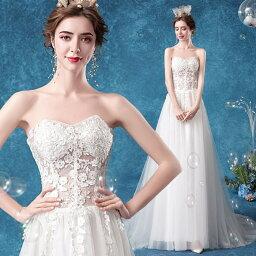 ANGEL 肌透け チュール レース ベアトップ トレーン Aライン ロングドレス ホワイト 白 ウエディングドレス ロング ドレス パーティードレス