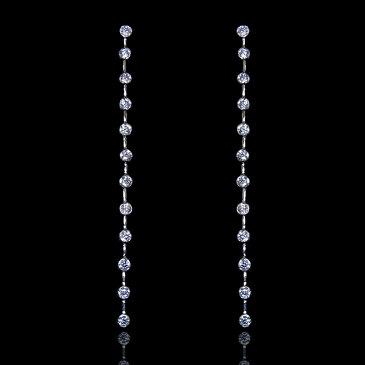 【送料無料】【あす楽対応】【楽ギフ_包装選択】シルバー925 高級CZダイヤ(キュービックジルコニア)【4ct.tw】ダズリング ウォーターフォール ロングピアス|Sterling Silver 925|18k Gold Vermeil|Dazzling CZ Drop Line Waterfall Dangle Earrings