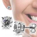 【あす楽対応】【即納可】シルバー925 コーティング加工済 高級CZダイヤ(キュービックジルコニア) 大粒8mm シンプル 一粒 ソリティアスタッドピアス●メール便可●Sterling Silver Round CZ Solitaire Stud Earrings